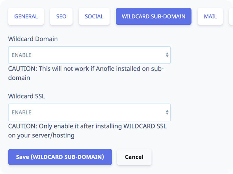 Wildcard-subdomain